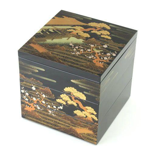 ≪送料無料≫6.5寸三段重箱山水蒔絵(黒)