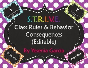 STRIVE Class Rules & Behavior Consequences Posters - Editable PowerPoint to create your own!