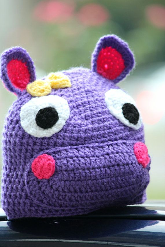 Check out this item in my Etsy shop https://www.etsy.com/listing/275796568/crochet-purple-hippo-hat-warm-hippo