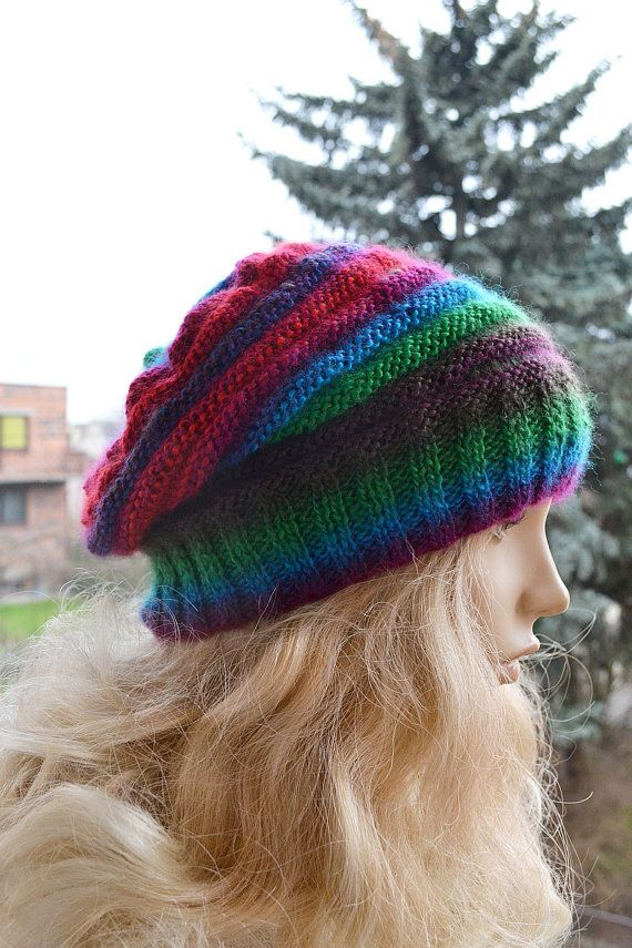 Knitted multicolor beani cap hat lovely warm by DosiakStyle
