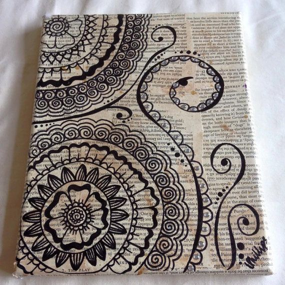 Handmade Henna Canvas ~ I would love to do this with transparent colors in a book that I gave to someone. Surprise!