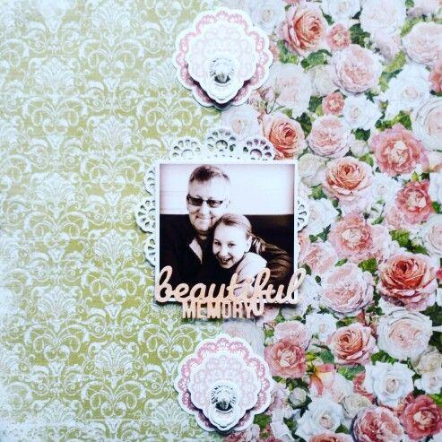Kaisercraft : Cottage Rose Collection : Beautiful Memory layout by Amanda Baldwin