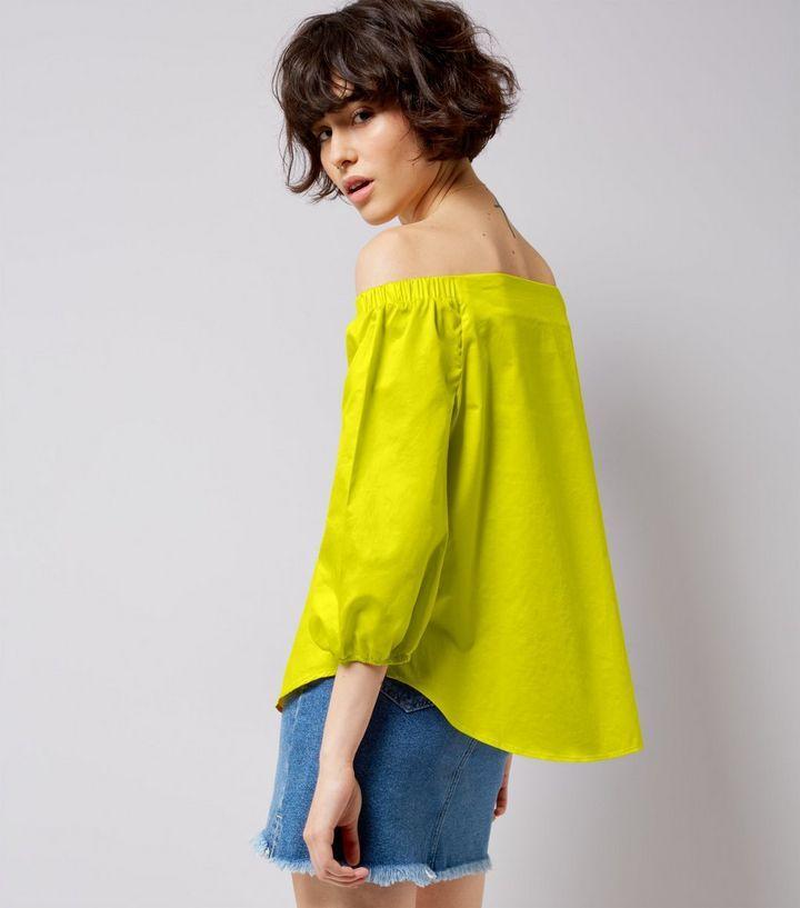 Yellow Bardot Neck 3/4 Sleeve Top | New Look
