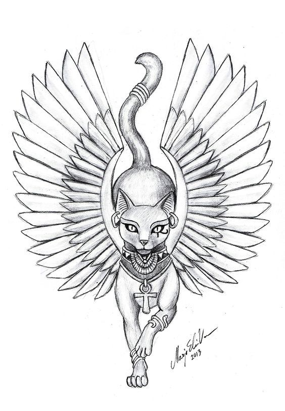 Small, simple, lucky, egyptian cat tattoo designs