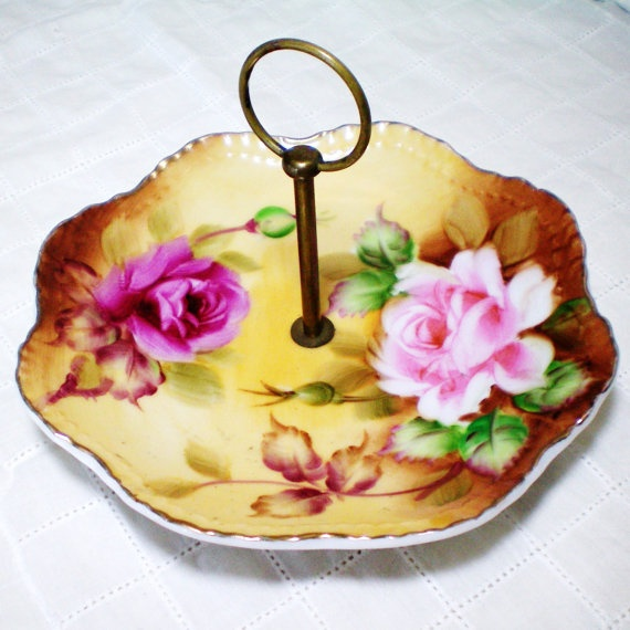 Lefton China - Roses - Candy Trinket Dish with Handle ...