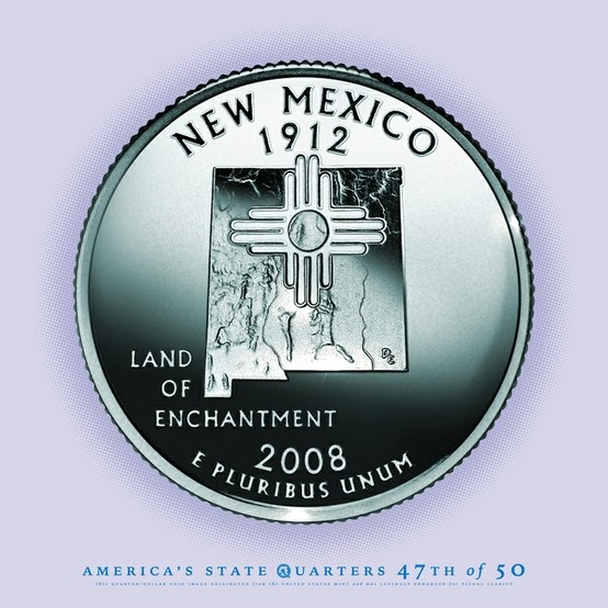 NEW MEXICO State Quarter - The Land of Enchantment - The 47th State to Gain Statehood - 1912. (V)