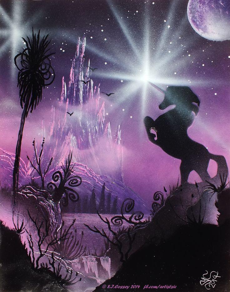 """Unicorn Starbright"" Spray paint art (on 14"" x 11"" card). 2014."