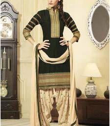 Buy Dark Green cotton embroidered semi_stitched salwar with dupatta party-wear-salwar-kameez online