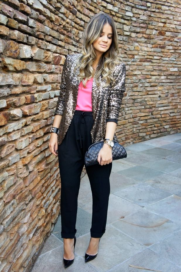 Sequined Blazer - Black silky pants - pink top tucked in  ♡