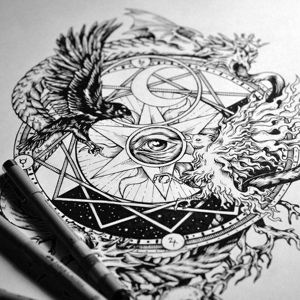 Magnum Opus tattoo design. Raven and phoenix - nigredo and albedo. Black and white, moon and sun, ouroboros. Alchemy, occult, eye, drawing, linework, A4, drawing, ink on paper. By Theoretical Part.