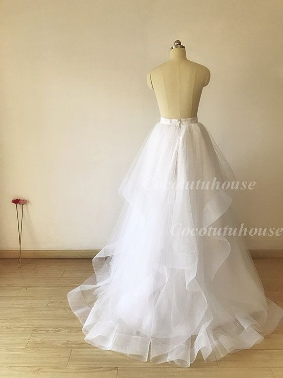 Wide Double Horse Hair Trims White Hi Low Maxi Tulle Skirt /