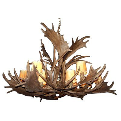 Loon Peak Attwood Antler Fallow Mule Deer Single Tier 12-Light Candle-Style Chandelier Finish: Black/White, Shade Color: Parchment, Shade Included:...