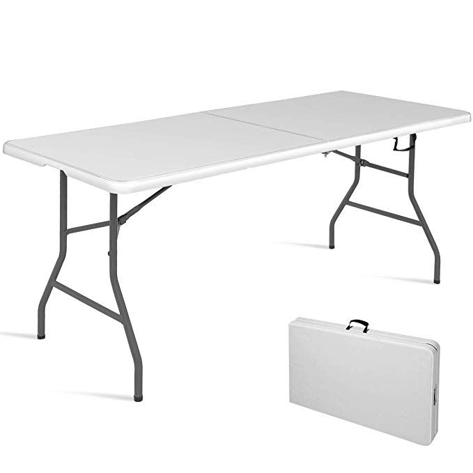 Goplus 6 Folding Table Indoor Outdoor Dining Camp Table Portable Plastic Picnic Table With Rounded Plastic Picnic Tables Outdoor Folding Chairs Folding Table