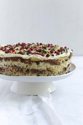 Italian Christmas Pudding Cake: This recipe is my own but at the same time a conflation of a couple of Italian Christmas must-haves: the glorious, fruit-studded panettone and crema di mascarpone, which is best described as tiramisu without the Savoiardi biscuit layer, and sometimes with pieces of chocolate stirred through the mascarpone mixture.