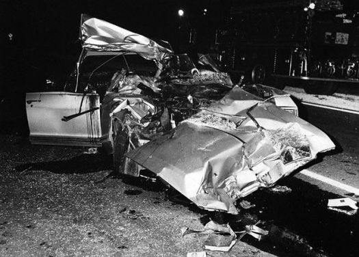 New Orleans -- Car in which actress Jayne Mansfield crashed to her death June 29 is nothing but twisted metal. The 34-year-old sex symbol, her chauffeur Bonnie Harrison, and lawyer Sam Brody, were all killed when the car smashed into a truck on a winding road outside New Orleans. Three of Miss Mansfield's children, ranging in age from three to eight, were treated for cuts and shock at a New Orleans hospital. (1967)