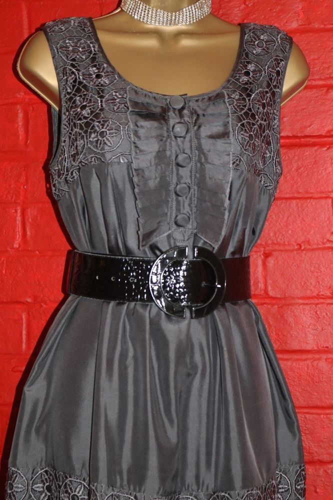 Ladies Lipsy Sz 12 Gun Metal Silk Fully Lined Frilly Lace Tunic Dress Long Top