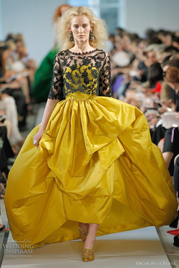 black lace over yellow | Oscar de la Renta