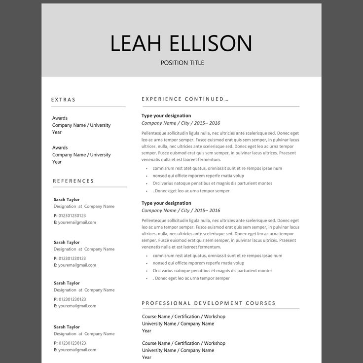 Resume Template in Word, Pages format. 3 Page CV Template