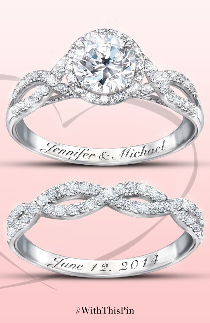 wedding rings wedding rings dollars Entwined Diamonesk Bridal Rings With Personalized Engraving