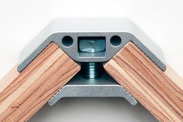 PLY90 (Micah Black, 2012): an aluminium connector that help DIYers build their own furniture. The Ply 90 is metal hardware that joins three-quarter-inch or half-inch wood.
