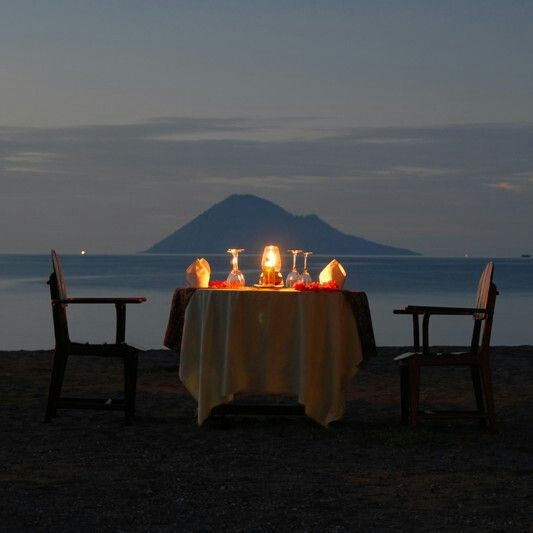 Just the perfect place for lovely dinner overlooking manado tua island Bunaken - north sulawesi Indonesia