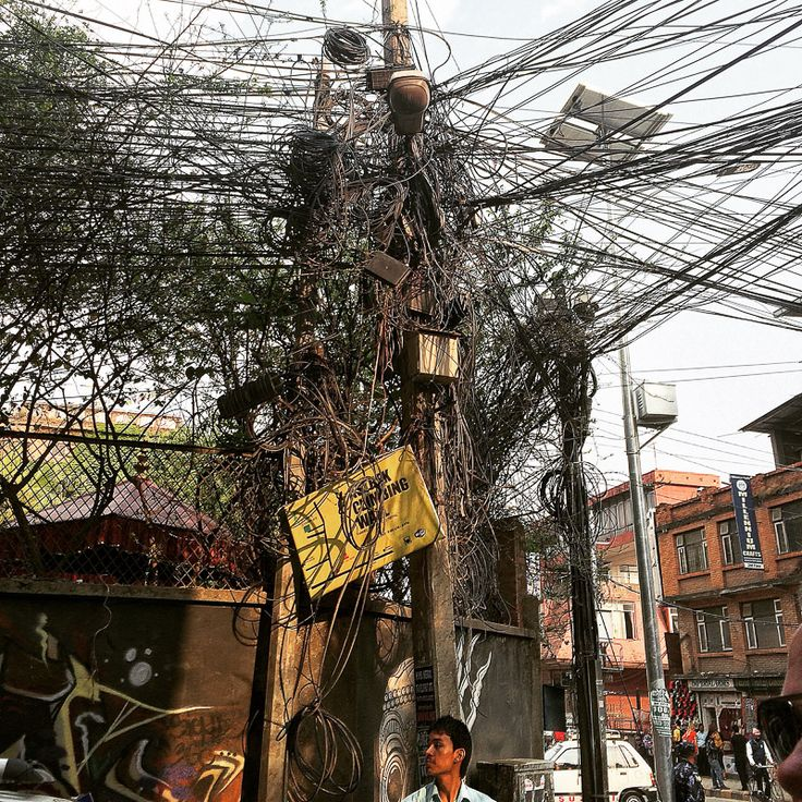 A mind-blowing rats nest in Kathmandu, Nepal -- However the electricity never went out once while I was in town