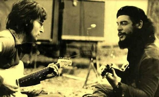 John Lennon and Che Guevara  Singing together.