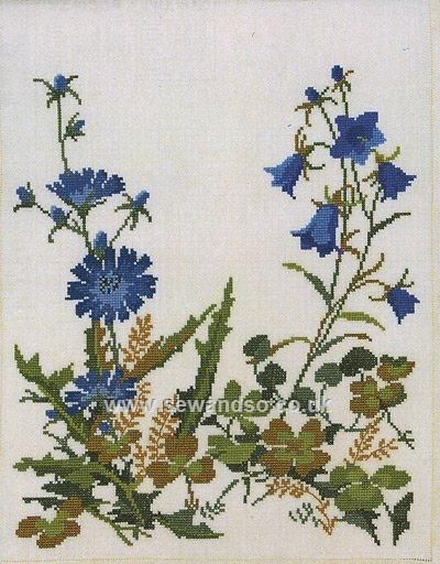 Buy Cornflower and Harebell Chair Back Cross Stitch Kit Online at www.sewandso.co.uk