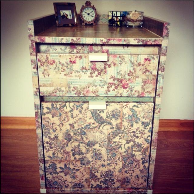 DIY Filing Cabinet I Took My Old Filing Cabinet, And Modpodged Vintage  Scrapbook Paper