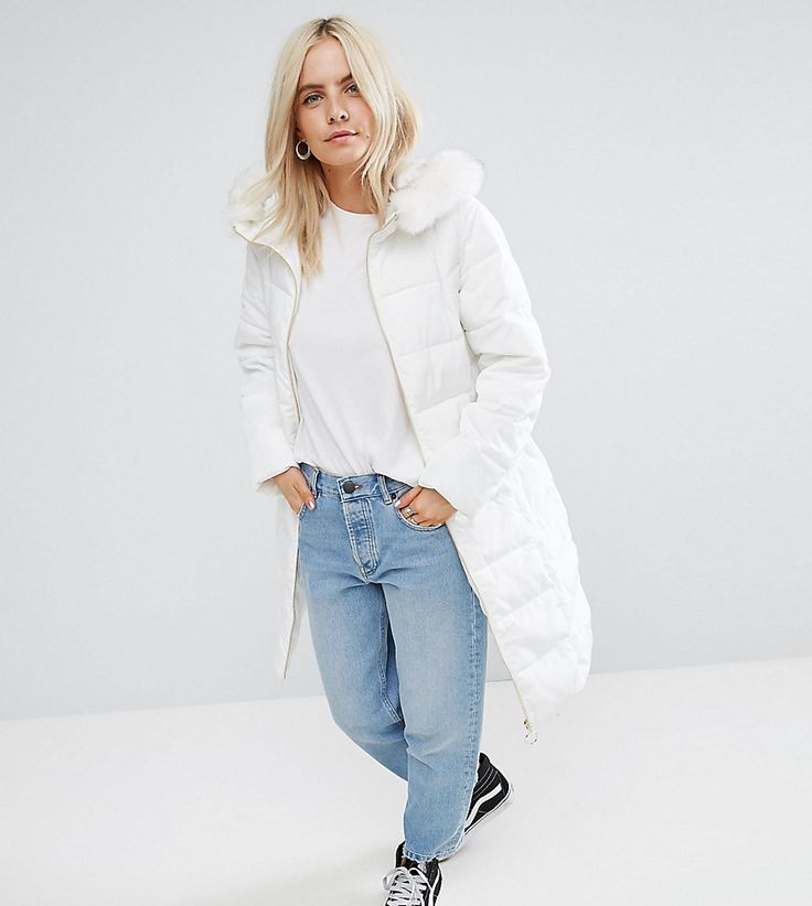 ASOS PETITE Longline Puffer Coat with Faux Fur Trim Hood - White