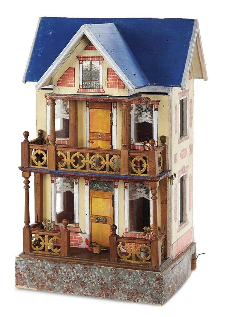 German Wooden Blue Roof Doll House With Elevator By Moritz