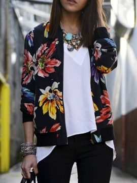 Shop Black Floral Rib Detail Bomber Jacket from choies.com .Free shipping Worldwide.$21.99