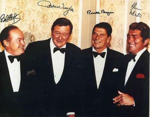 I love everything about this! If I were there, I would probably pass out. [Bob Hope, John Wayne, Ronald Reagan, Dean Martin]