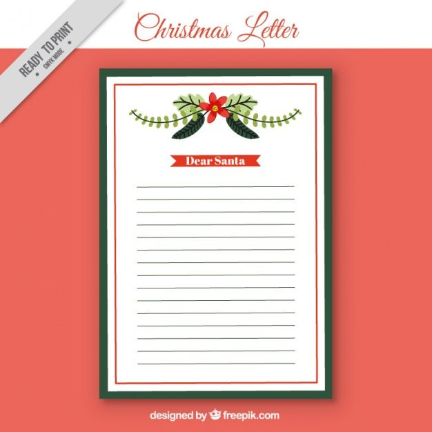 Christmas letter template with floral detail Free Vector