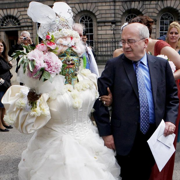 Elaine Davidson, who holds the record for World's Most Pierced Woman, walks outside Edinburgh Registry Office after her wedding to Douglas Watson....(lucky Doug!)  Picture: PA