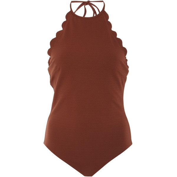Marysia Swim Mott Scalloped One Piece Swimsuit (1.050 BRL) ❤ liked on Polyvore featuring swimwear, one-piece swimsuits, swimsuits, brown, swim suits, scalloped swimsuit, swimming costumes, brown swimsuit and scalloped one piece swimsuit