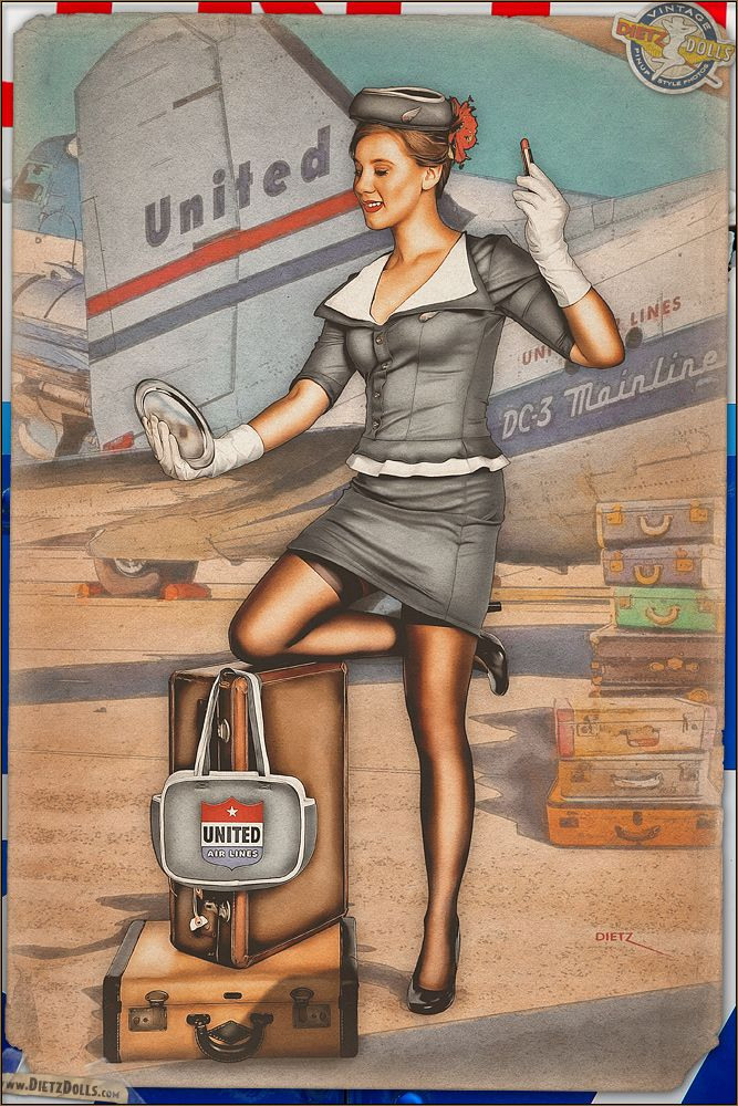 Today's airbrushed style pinup photo introduces a brand new face to Dietz Dolls, presenting Kirsten in this vintage United Airlines stewardess pinup! While this is a bit more revealing than the standard stewardess uniform for United in the late 40s, it's not that too far off. Here Kirsten takes a moments pause to check her makeup before her flight on the DC-3 behind her begins to board. � Dietz Dolls: http://www.dietzdolls.com || Facebook: https://www.facebook.com/MomentsCapture