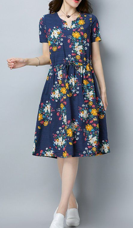 Women loose fit over plus size retro flower dress tunic draw string skater chic #Unbranded #dress #Casual