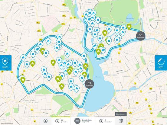 """Die #immonet iPad App: Die Zeichnen-Funktion macht die Immobiliensuche kinderleicht. Löse dich von der PLZ- oder Ortsteileingabe und zeichne stattdessen deinen persönlichen Suchbereich direkt mit dem Finger in die Karte ein.  """"Meine Pins"""" ermöglichen das Anzeigen von Locations, die für die Suche wichtig sind, wie Arbeit oder Familie. Ist die Objekt-Adresse freigegeben, wird zudem auch die Entfernung und Routendauer angezeigt – und zwar je nach Auswahl mit Auto, Fahrrad oder auch zu Fuß.  Mit…"""