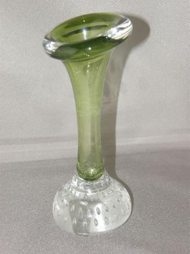 1960's ASEDA Åseda Glasbruk Sweden Green Bone Vase Jack in the Pulpit Art Glass