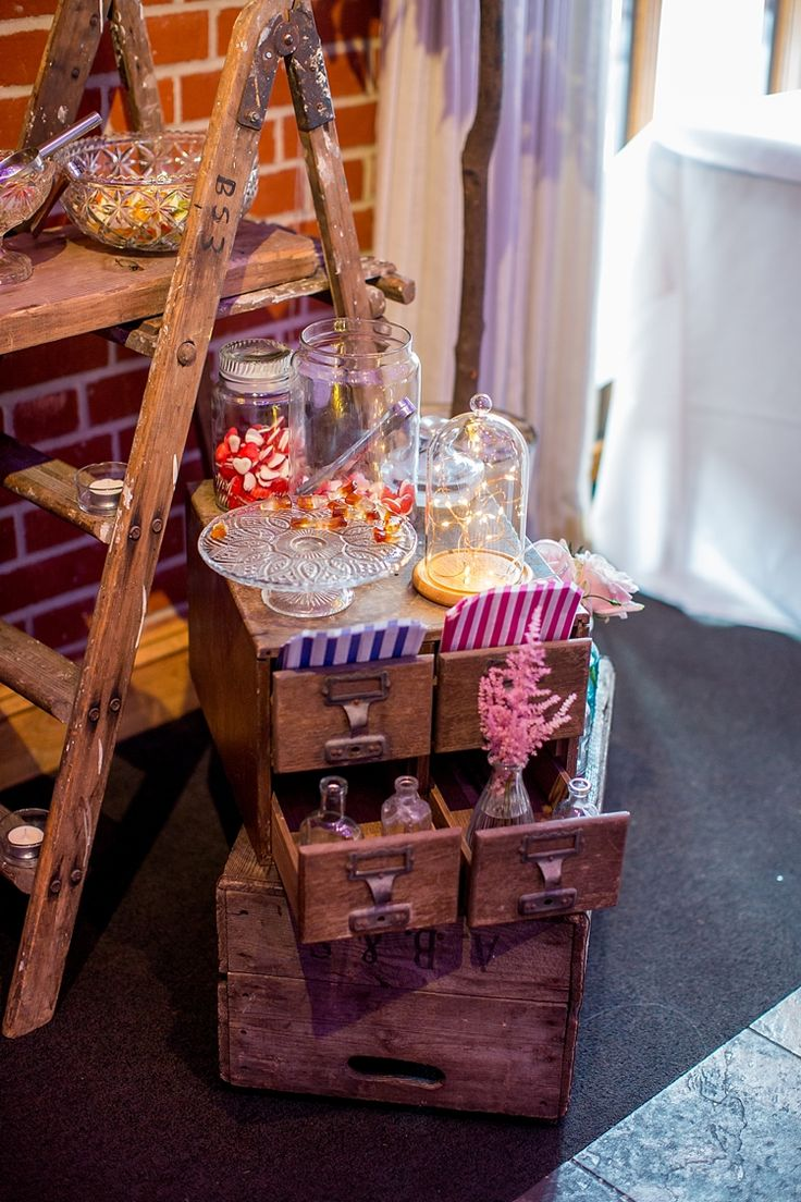 110 best wedding sweets sweetie tables images on pinterest romantic summer country blush wedding vintage rustic wooden ladder sweet dessert table junglespirit Choice Image