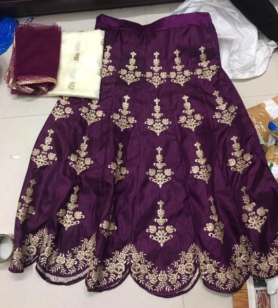 Magenta Silk Indian Lehenga Online Shopping