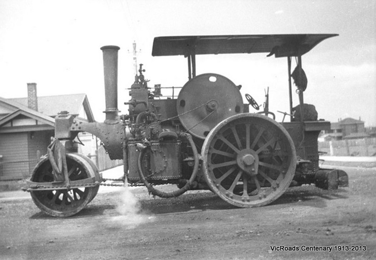 Fowler roller fitted with spraying attachment 1930. VicRoads Centenary 1913-2013.