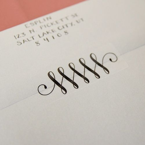 Instead of tape, print this flourish design onto Avery clear address labels! - wonderful alternative to licking all those envelopes! I wish I had this idea for our invites. I can still use it for thank yous, though!