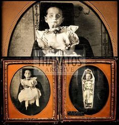 Post mortem daguerreotype set of a little girl, seated, and in her coffin. My…