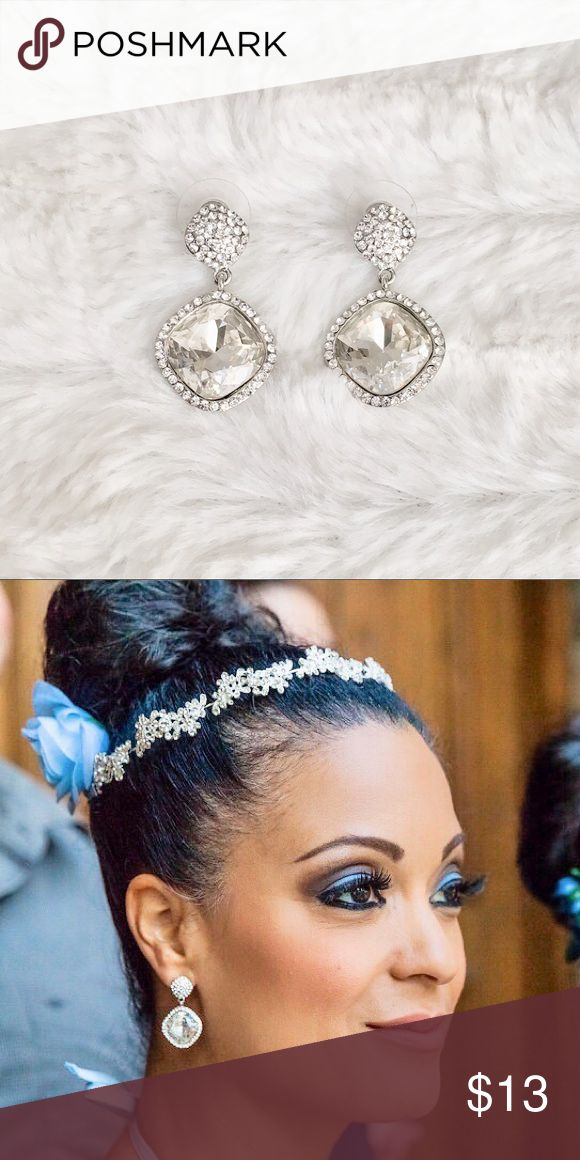 """GORGEOUS white & silver rhinestone earrings These are absolute stunners! Princess style, approx 1.5"""" drop. Worn once for a wedding paired with a headband/tiara from another listing (as seen in second pic).   Posts cleaned with alcohol. Like new condition! Jewelry Earrings"""