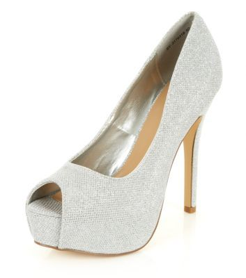 Silver Glitter Peeptoe Platform Heels