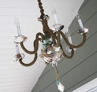 my handmade shell chandelier wrapped arms with jute covered large brass ball with shells and. Black Bedroom Furniture Sets. Home Design Ideas