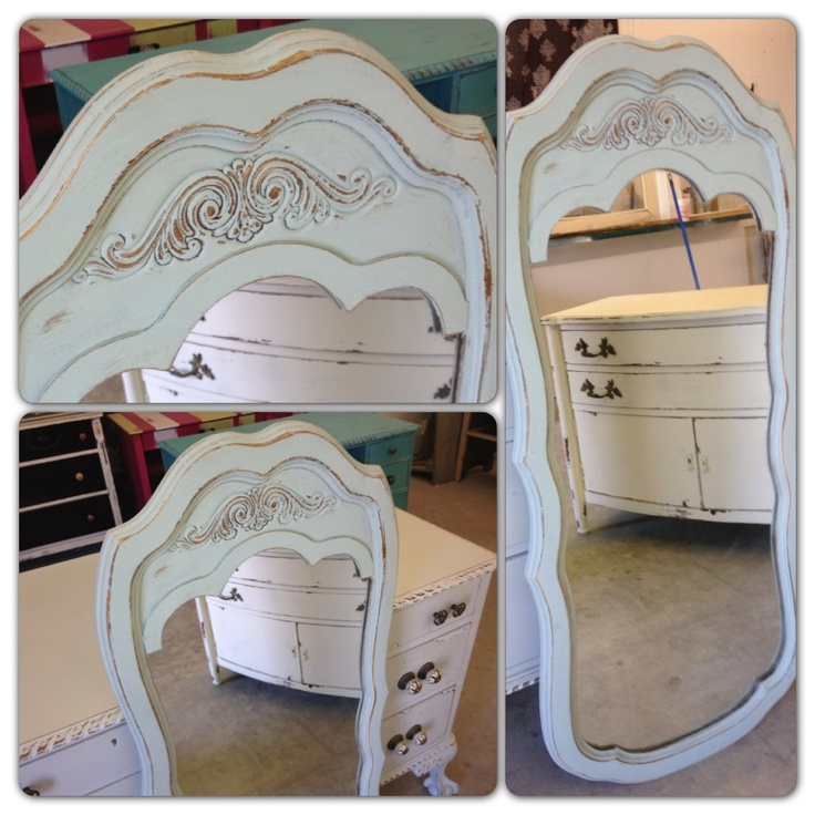 Robin's Egg Blue full length mirror with distressed details.   Measures 21 x 48h  {FOR SALE $165}