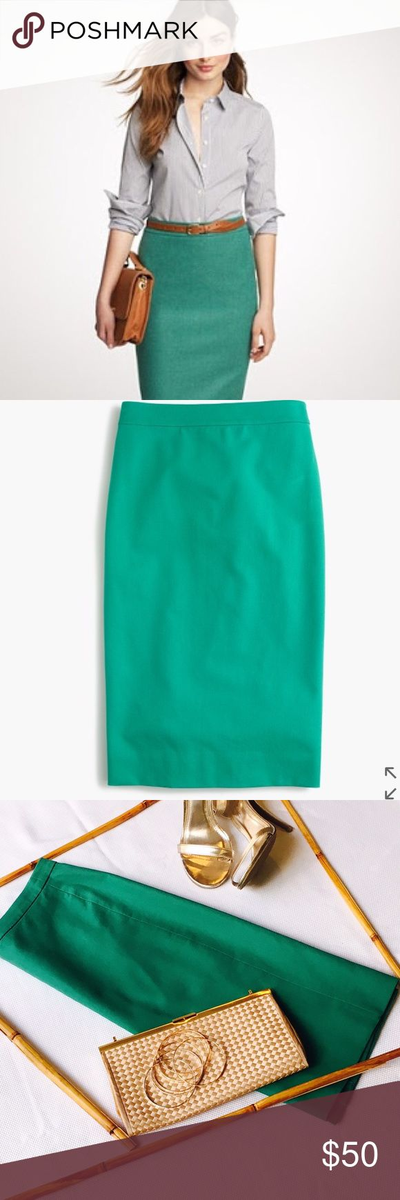 "J. Crew Pencil Skirt in cotton twill Gorgeous Green Pencil Skirt ! Waist 30"" Good Condition! J. Crew Skirts"